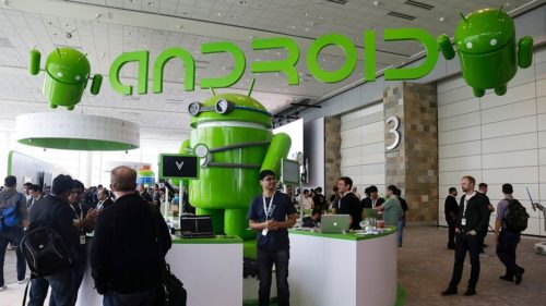 An Android demo booth at a tech conference.